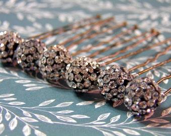 6 Cluster Crystal 10mm Hair Pins