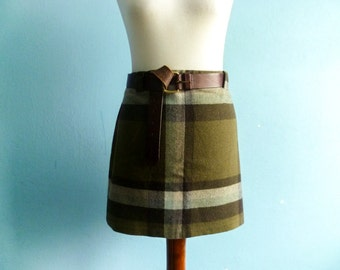 Vintage Warm Plaid Skirt / Checked / Olive Green Brown Grey Earthy Colors / Fall Winter / Short Mini / small medium