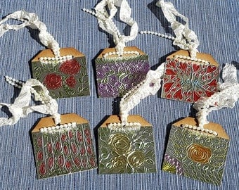 6 Metallic Foil Embossed Floral and Leaves Chipboard Tag with Ivory Crinkle Seambinding with a String of Pearls - OOAK - gift giving