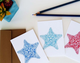 Starfish Notecards, Coastal Watercolor Art, Set of Nine
