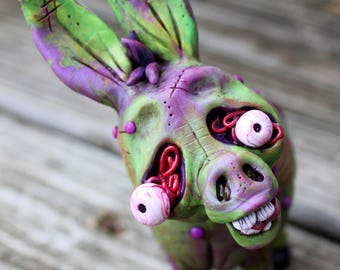 Zombie Donkey Polymer Clay Sculpture