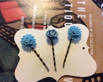 Blue bobby pins ~hair pins set of 3 handmade hair pins Dalia blue with white  cabochons