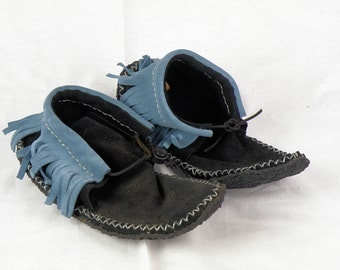 Black and Teal Suede Fringe Moccasins