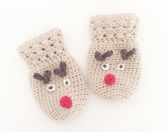 Crochet Reindeer Mittens - PDF Pattern