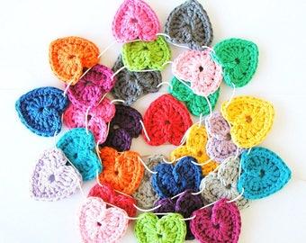 Crochet Hearts Garland XL - 28 hearts (1.75 inch)