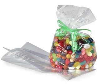 50 Small Clear Cello Favor Bags, Small Cello Bags for Candy, Cookies, Popcorn, Small Cello Party Treat Bags, Gift Bags,