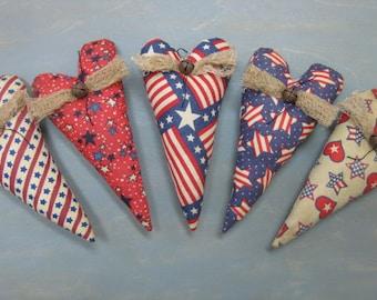 Primitive Americana Heart Bowl Fillers - Set of 5 - Patriotic Hearts - July 4th Bowl Fillers - Primitive Patriotic Decor - Americana