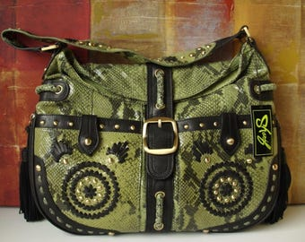 Excellent New SHARIF Handbag Exotic Green Reptile and Black Leather Shoulder Purse