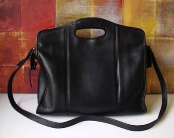 Vintage COACH Handbag Black Leather Zip Top Shopper Business Briefcase Attache Convertible Bag 9995