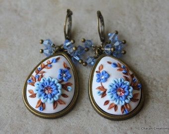 Polymer Clay Applique Floral Statement Earrings in Blue and Brown