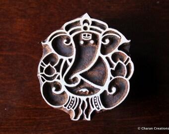 Blockprint stamp, Textile stamp, Hand Carved Indian Wood stamp, Pottery stamp - Ganesha