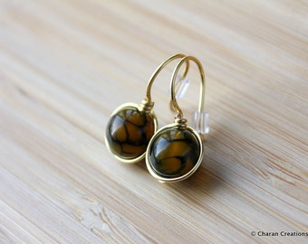 Crackle Agate Wire Wrapped Earrings