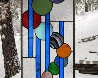 Irridescent Circles Stained Glass Window