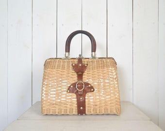 Straw Handbag Purse 1970s Leather Handle Vintage Bag Silver Tone Hardware