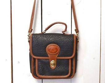 Flash Sale 25% Off Cross Body Bag Early 90s Bag Two Tone Faux Leather Convertible Handbag Vintage Black Shoulder Bag