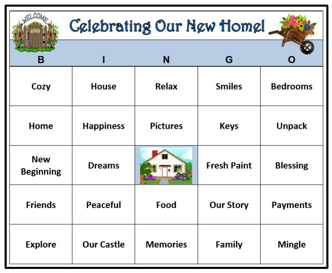 Housewarming Party Bingo Game 30 Cards House and Home Party