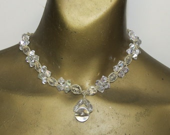 CLEARANCE! Crystal clear sparkling beads choker necklace made with hemp. Long ties in back. HCK-938