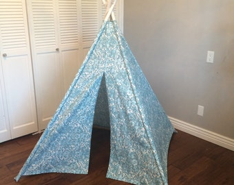 Blue and White Floral, Flower, Play Teepee, Tee Pee, Tent (poles included)