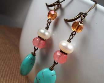 CLEARANCE- 50% OFF:  Antique Bronze Howlite Turquoise Cherry Quartz Freshwater Pearl Czech Glass Statement Dangle Earrings