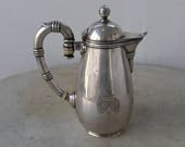 "CHRISTOFLE CHOCOLATE POT Silverplate Banded Design ""Beak"" Spout Bulbous Body Ball Finial French Coat of Arms Unique Rare Beauty France 1800s"
