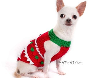 Christmas Chihuahua Clothes, Red Green Santa Dog Clothes XXS, Unique Christmas Pet Gifts, Handmade Crochet DF1 Myknitt - Free Shipping