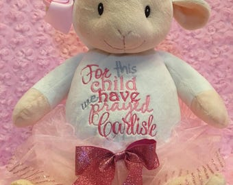 Lamb,Personalized Baby Gift, stuffed animal, birth announcement, new baby gift, baptismal, monogrammed, embroidered