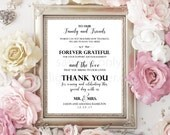 8X10 Editable Wedding Thank You Sign Template, Ceremony Sign, Wedding Decor, Wedding Printable, PDF Editable File, You Print