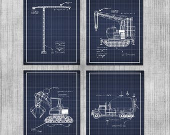 Construction Themed Nursery - DIGITAL Nursery Wall Art - Bulldozers and Trucks Blueprints - Construction Vehicles - Baby Boy or Kids Room