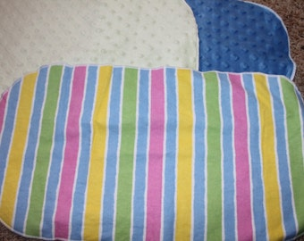 Pink Blue Green Yellow Burp Cloth with Minky