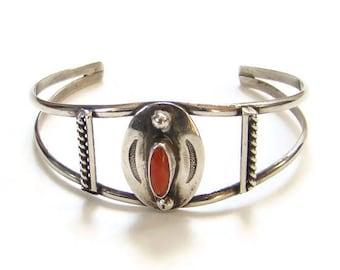 Vintage Native American Navajo Red Coral Cuff Bracelet Sterling Silver