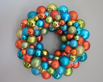 Reserved- Orange, Turquoise, Lime  Wreath Ornament Wreath
