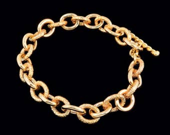 18k Yellow Gold Greco-Roman Style Oval Link Bracelet