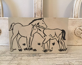 Vintage Horse Linocut Block - Hand Made Horse Block Stamp - Wood Mounted - Great Retro Equestrian Art
