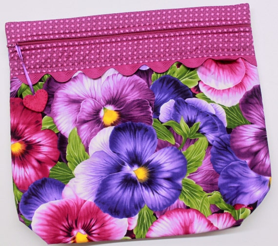 MORE2LUV Giant Pansies Cross Stitch Embroidery Project Bag