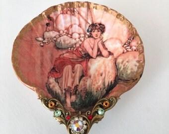 Fairy Goddess Small Shell Jewelry Dish Fairy Dish Jewelry Holder