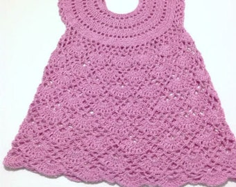 Summer Pink Crocheted Dress for 3-4 years-old girl Baby Dress crochet dress baby girl