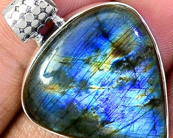 """reserved. 50% OFF INAUGURATION SALE! Spectral Blue Flash Labradorite. Solid Silver Pendant. 1 1/2"""" Long."""