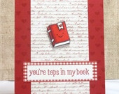 Book Lovers Valentine's Day Card- Book Valentine- Tops In My Book - Fun Valentine