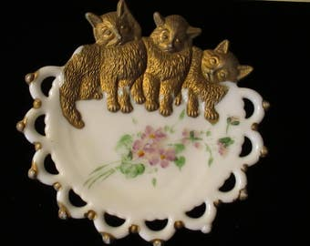 Vintage Milk Glass Dish Plate Three Kittens Violets Westmorland Dishes Plates Cottage Chic Decor YourFineHouseI Nursery Decor