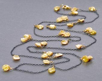 Keishi Necklace by Agusha. Long Gold Keshi necklace. Oxidized Silver Keishi Necklace. Gold Keshi