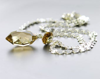 Beer Quartz Pendant by Agusha. Chain Necklace