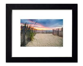 Framed Matted Beach Art, Sunrise Shore Photos, Ocean Sand Fence, Rehoboth Beach Ready to Hang Wall Decor