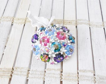 Vintage Rhinestone Apple Brooch Pin, Margarita stones, White enamel, Rainbow colors, Retro pin, 1950's, Glitzy broach, Kitschy, Orange pin
