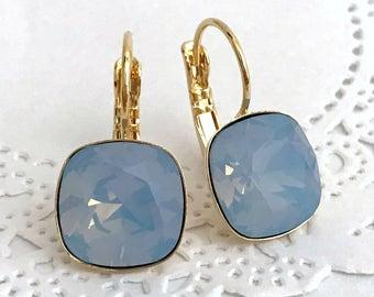 Blue Opal Earrings // AIR BLUE OPAL Swarovski Crystal Cushion Earrings // Rose Gold Light Blue Earrings // Powder Blue Summer Earrings