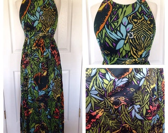 70s safari animal print maxi ress