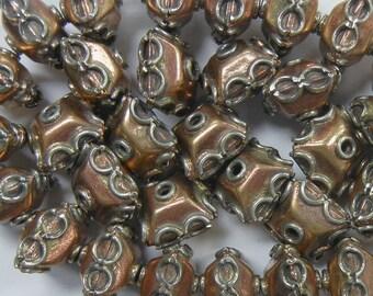 12x9mm rondelle circle stripe two tone copper silver metal german silver beads 22pc (TTM-9)