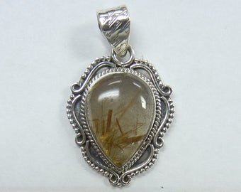 36x22x6mm Indian style reverse teardrop pendant, natural golden rutilated quartz, sterling silver, one piece, (SIP-4)
