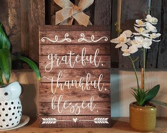 Grateful, Thankful, Blessed Canvas art