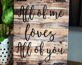 "14 x 20 Inch ""All of me Loves All of you"" canvas print"