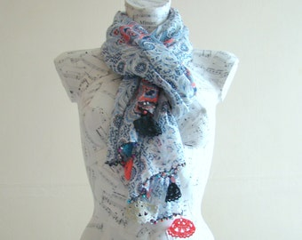 Summer scarf cotton scarf flower scarf crochet pareo wrap beach pareo fashion scarf summer scarfs crochet edge blue scarf rectangular scarf
